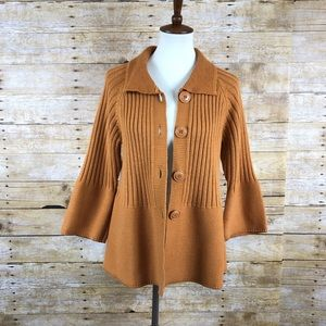 Croft and Barrow Orange Knit Baby Doll Cardigan XL